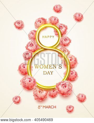 Postcard On 8 March International Womens Day. 8 March Modern Background Design With Realistic Golden