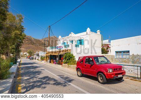 Ios, Greece - September 22, 2020: Suzuki Jimny 4x4 Car Parked On The Street Of Ios Island. Cyclades,