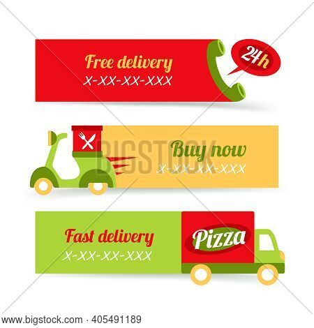 Fast Food Pizza Free Delivery 24h Banners Set Isolated Vector Illustration
