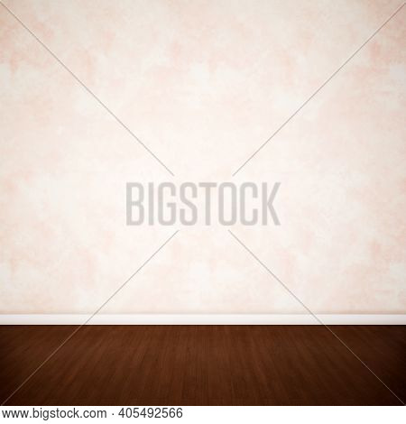 Concept or conceptual vintage or grungy brown background of natural wood or wooden old texture floor and concrete wall for contrast. A 3d illustration metaphor for time, material, solitude or rust