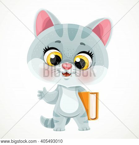 Cute Cartoon Smoky Gray Kitten Holding A Book Under His Arm Isolated On White Background