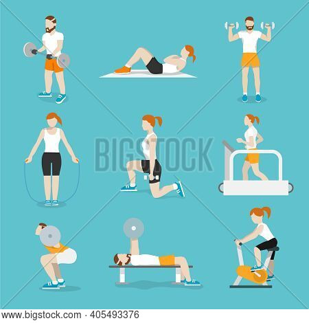 People Training Exercise Bikes And Cardio Fitness Treadmills With Bench Press Icons Collection Flat