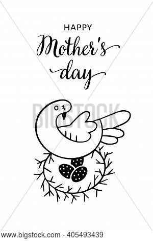 Illustration Greeting Card For Mothers Day In Doodle Style. Mom Is A Bird And Eggs. Congratulatory I