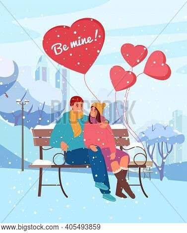 Saint Valentine's Day Greeting Card Vector Design. Illustration Of Couple In Love Sitting In Winter