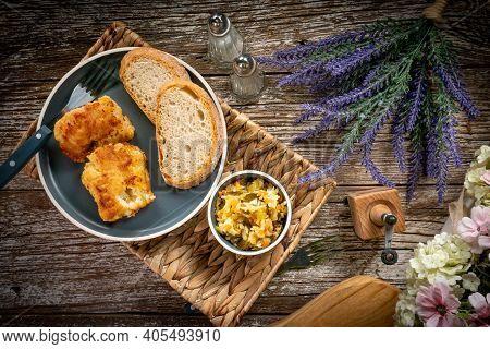 Pieces Of Fried Cod Fillet In Breadcrumbs.