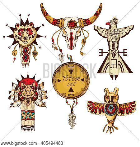 Ethnic American Tribes Animal Totems Colored Sketch Decorative Elements Set Isolated Vector Illustra