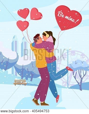 Saint Valentine's Day Greeting Card Vector Design. Couple In Love Hugging In Winter Park With Heart