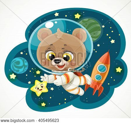 Cute Cartoon Teddy Bear In An Astronaut Costume In Outer Space Reaching For A Star Isolated On White
