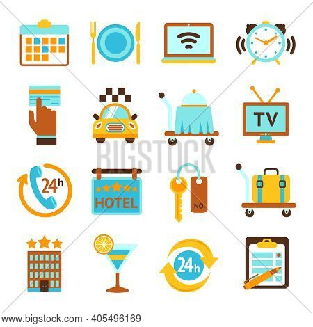 Hotel Travel 24h Room Service Flat Icons Set With Breakfast Bell And Mobile Tv Isolated Vector Illus