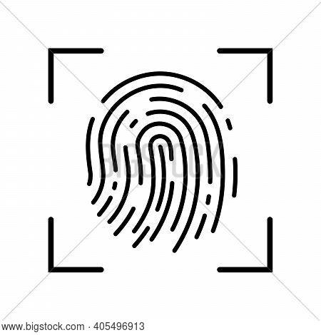 Fingerprint Recognition Concept. Fingerprint Icon. Black Thumbprint Icon. Vector Illustration