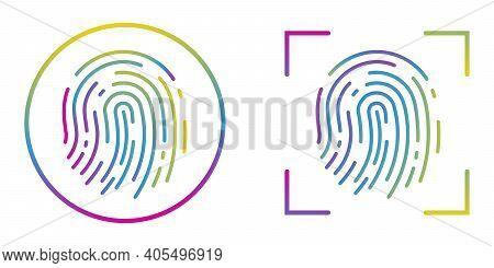 Fingerprint Recognition Concept. Fingerprint Icons Set. Abstract Thumbprint Icon. Vector Illustratio