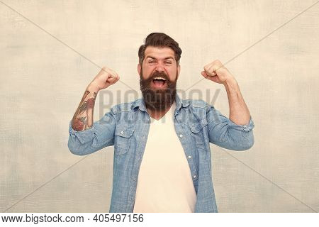 Celebration Concept. Bearded Man Trendy Hipster Style. Cheerful Mood. Happiness And Joy. Hipster Wit