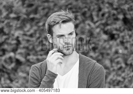 Handsome Caucasian Man Nature Green Background. Bearded Guy Casual Style. Barbershop Service. Handso