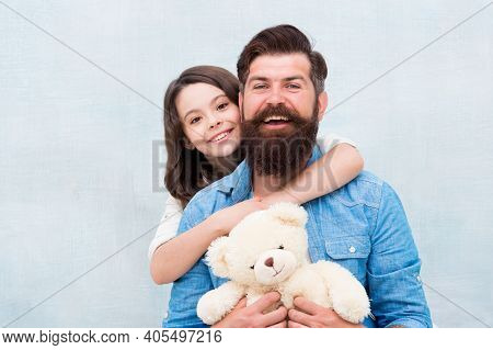 Celebrating Fathers Birthday. Little Daughter Hug Father On Fathers Day. Happy Family Celebrate Inte