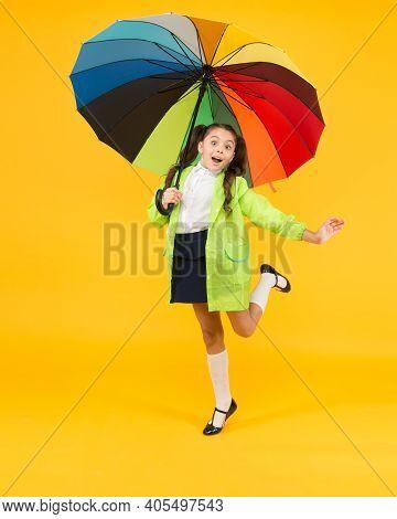 Forecast Application. Positivity Concept. Rainy Day Fun. Happy Walk Under Umbrella. Rain Concept. Ki