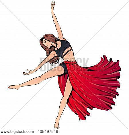 Vector Illustration Of Young Girl Dancing Contemporary Dance In A Long Red Skirt Isolated On White B