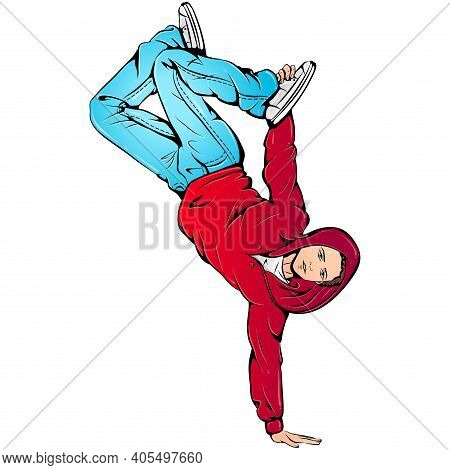 Vector Illustration Of Young Boy Dancing Street Style Breaking Isolated On White Background. B-boyin