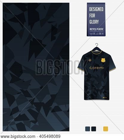 Fabric Pattern Design. Mosaic Pattern On Black Gradient Background For Soccer Jersey, Football Kit,