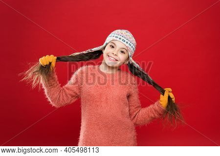 Cute Accessories. Adorable Baby Long Hair Wear Cute Winter Knitted Hat. Girl Wear Winter Theme Acces