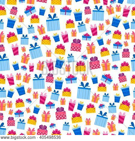 Christmas Pattern With Cartoon Gift Boxes. Seamless With Colorful Present Box. Vector Holiday Backgr