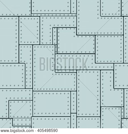 Seamless Pattern In The Form Of An Image Of A Wall Sheathed With Steel Sheets With Rivets