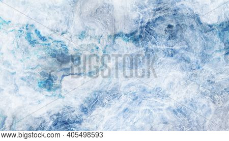Blue Marble Pattern With White Veins. 2d Illustration. Abstract Texture And Background