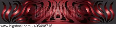 Textured Background For Use In Elongated Images As Abstract Curved Lines In Dark Red Neon Tones