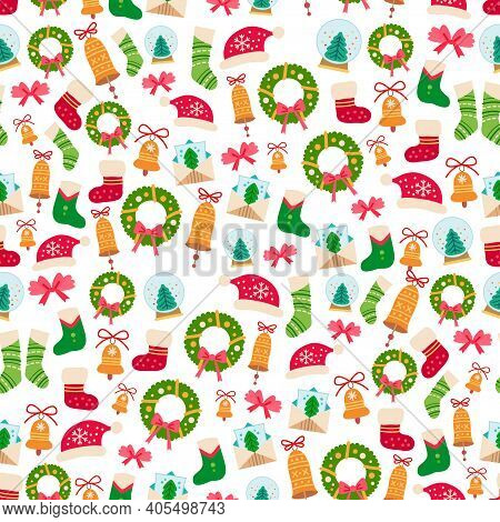 Christmas Pattern With Cartoon Home Decoration. Seamless With Colorful For Present Box. Vector Holid