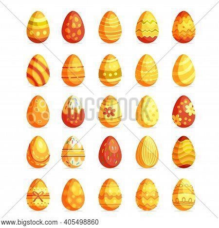 Big Gold Easter Eggs Setof Flat Style Isolated On White Background. Vector Illustration. Egg Hunt Su