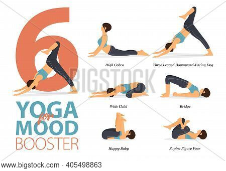 Infographic Of 6 Yoga Poses For Yoga At Home In Concept Of Mood Booster In Flat Design. Woman Exerci