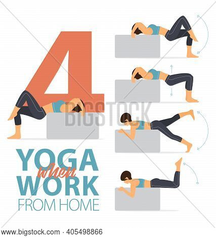 Infographic Of 4 Yoga Poses For Easy Yoga At Home Concept In Flat Design. Woman Exercising For Body