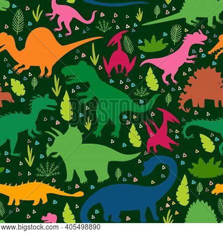 Childish Pattern With Silhouettes Dinosaurs And Tropical Leaves And Flowers. Vector Illustration. Se