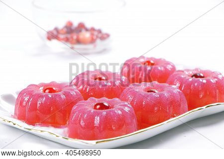 Berry Pudding On A White Background.fruit Jelly. Pudding Of Cranberries. Vegan Food. Healthy Food.