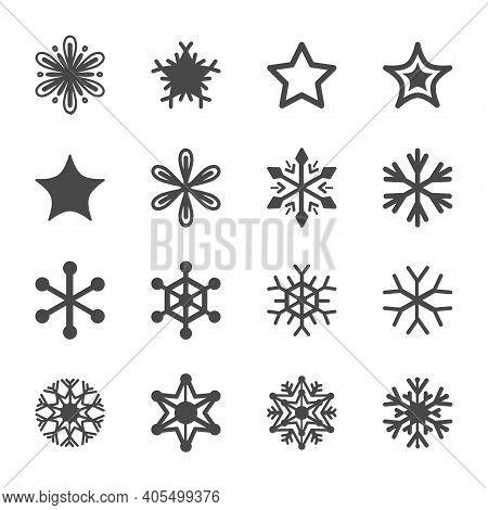 Winter Linear Icon Monochrome Set. Fine Winter Ornament. Snowflakes Collection. Simple Black Design