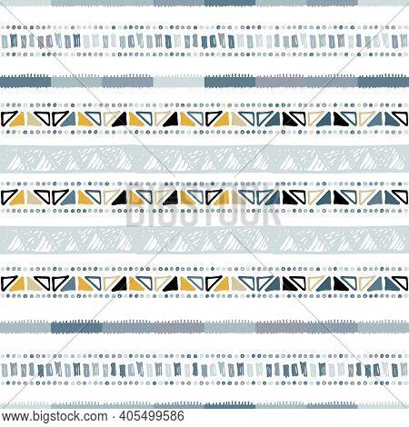 Hand Drawn Stripe Seamless With Simple Scandinavian Ornament. Nursery Geometric Chevron Vector Patte