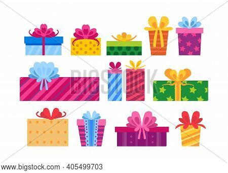 Collection Of Gift Boxes Isolated On White Background. New Year And Christmas Bright Decor In Cartoo