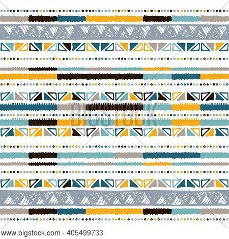 Hand Drawn Stripe Seamless With Simple Scandinavian Ornament. Nursery Geometric Vector Pattern. Desi