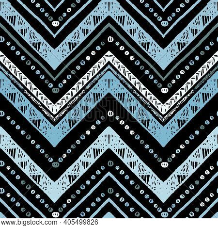 Seamless Silver Metallic Ethnic Zigzag Chevron Pattern. Hand Drawn Colorful Geometric Background. St