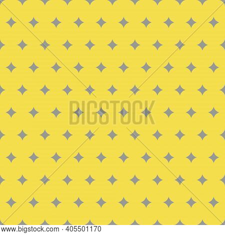 Gray Twinkles Seamless Pattern On Trendy Yellow Background. Colors Of The Year 2021. Cute Gray Twink