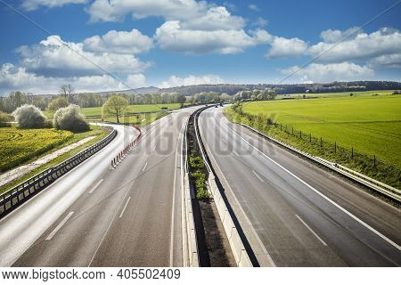 Autobahn Landscape In Germany Hesse In Summer