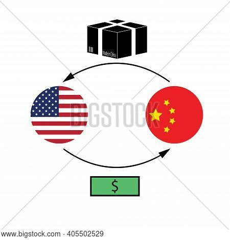 Usa China Trading Concept. United States And China Flags Exchange Goods Made In China For Money. Vec