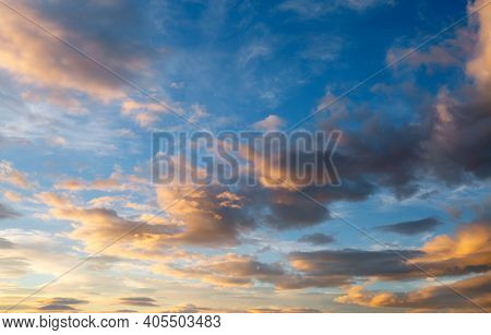 Fantastic colorful sunrise with cloudy sky. Image template of textured sky. Scenic image of dramatic light in summer weather. Picturesque photo wallpaper. Natural background. Beauty of earth.