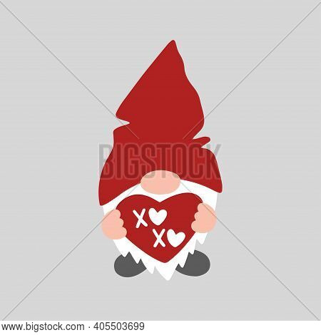 Valentine Gnome Isolated On White Background. Valentines Day Holiday Vector Illustration. Cute Carto