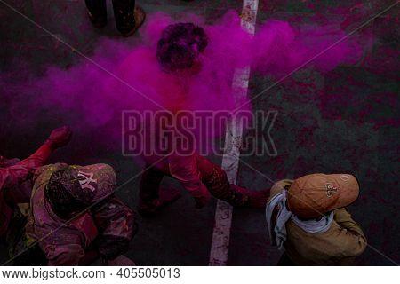Mathura, Uttar Pradesh/ India- January 6 2020: People Celebrate The Traditional And A Ritualistic Ho