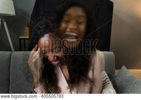 Schizophrenia Condition And Bipolar Disorder. Double Exposure Sad African Woman