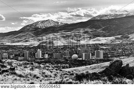 Reno, Nevada / United States - November, 16 2016: Cityscape Of Downtown Reno Nevada In The Winter Wi