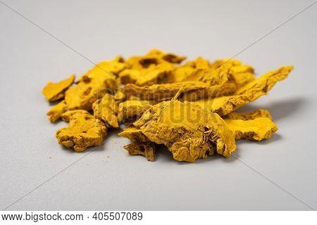 Side View Herb Jianghuang Or Curcumae Longae Rhizoma Or Common Turmeric Rhizome