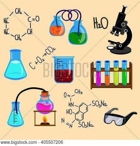 Chemistry Set. Flat Vector Illustration. Chemistry For School. Icons Of Chemistry.