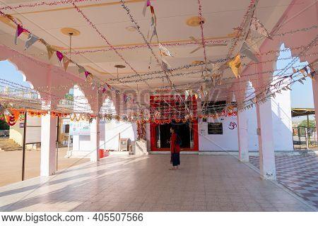 Jaisalmer, Rajasthan, India - 15th October 2019 : Devotee Worshipping At Tanot Mata Mandir At India
