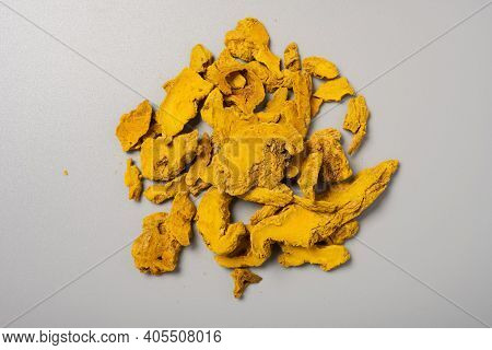Top View Herb Jianghuang Or Curcumae Longae Rhizoma Or Common Turmeric Rhizome